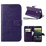 MOONCASE Nexus 6P Case, Vintage Emboss Butterfly Flip Leather Wallet Cover for Huawei Google Nexus 6P Bookstyle Folio Stand Case with Card Pocket and Wrist Strap Purple