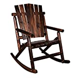 Hardwood Garden Furniture Action Club Log Rocking Chair Single Porch Rocker Hardwood Rustic Large Space Patio Furniture
