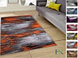 Handcraft Rugs - Electric Orange/Grey/Silver/Black/Abstract Contemporary Modern Design Mixed Colors Area Rug
