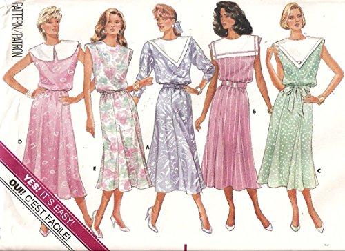 Butterick vintage 1980s sewing pattern 4735 pilgrim and platter collar dress - Size (Pilgrim Collar Pattern)