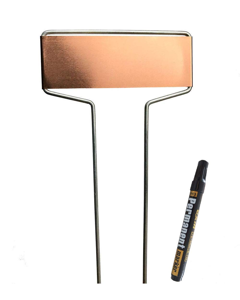 Copper Garden Labels Plant Markers Nursery Tags Reusable Planting Gardening Sticks for Vegetable Herb Flower Pack of 15,with 1 Marker Pen