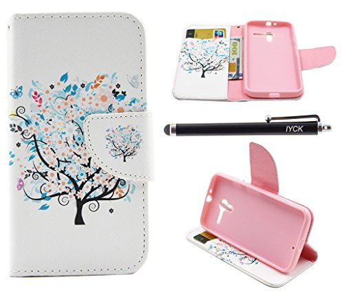 Moto X Case (1st Gen), iYCK Premium PU Leather Flip Folio Carrying Magnetic Closure Protective Shell Wallet Case Cover for Moto X (1st Gen) with Kickstand Stand - Butterfly Floral Tree