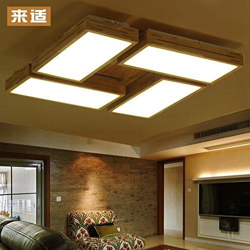 BLYC- Innovative solide Holz Wohnzimmer Deckenleuchte helle Nordische minimalistischen japanischen Stil Atmosphäre LED dimmbare Lampen 4 Protokolle, quadratische Wohnzimmer 760 * 760 * 120 mm