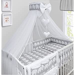 Baby Canopy Drape Mosquito NET with Holder to FIT COT & COT Bed (Elephants Grey)