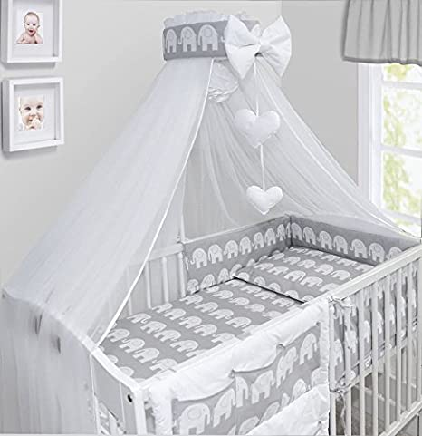 LUXURY 10Pcs BABY BEDDING SET COT BED PILLOW DUVET COVER BUMPER CANOPY to Fit Cot Bed Size 140x70cm 100/% COTTON Ladder Green