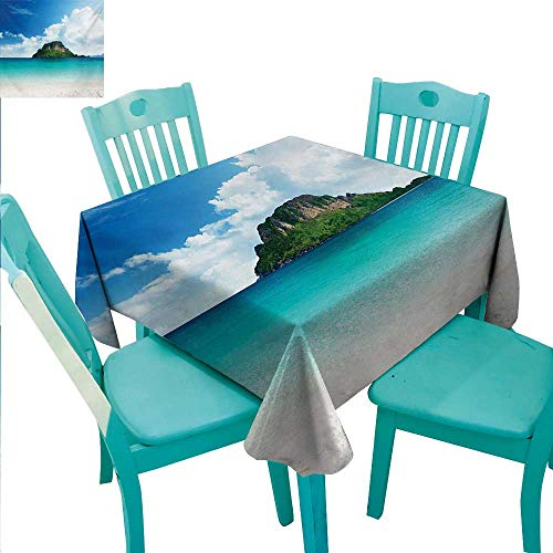 (WilliamsDecor Island Fabric Dust-Proof Table Cover Poda Island in Thailand South Asian Tropic Paradise Hot Sun with Clouds Photo for Kitchen Dinning Tabletop Decoration 70