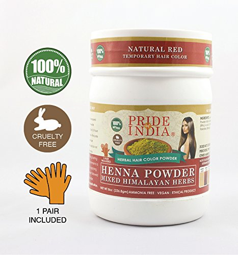 Pride Of India - Herbal Henna (Lawsonia Inermis) Hair Color Powder w/Gloves - Natural Red, Half Pound (8oz - 227gm) Jar - BUY ONE GET 50% OFF 2ND UNIT (Mix and Match - Promo AUTO APPLIES at Checkout (Best Mehndi For Hair In India)