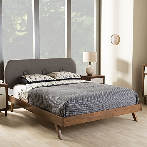 Baxton Studio Penelope Mid-Century Modern Solid Walnut Wood Grey Fabric Upholstered Queen Size Platform Bed