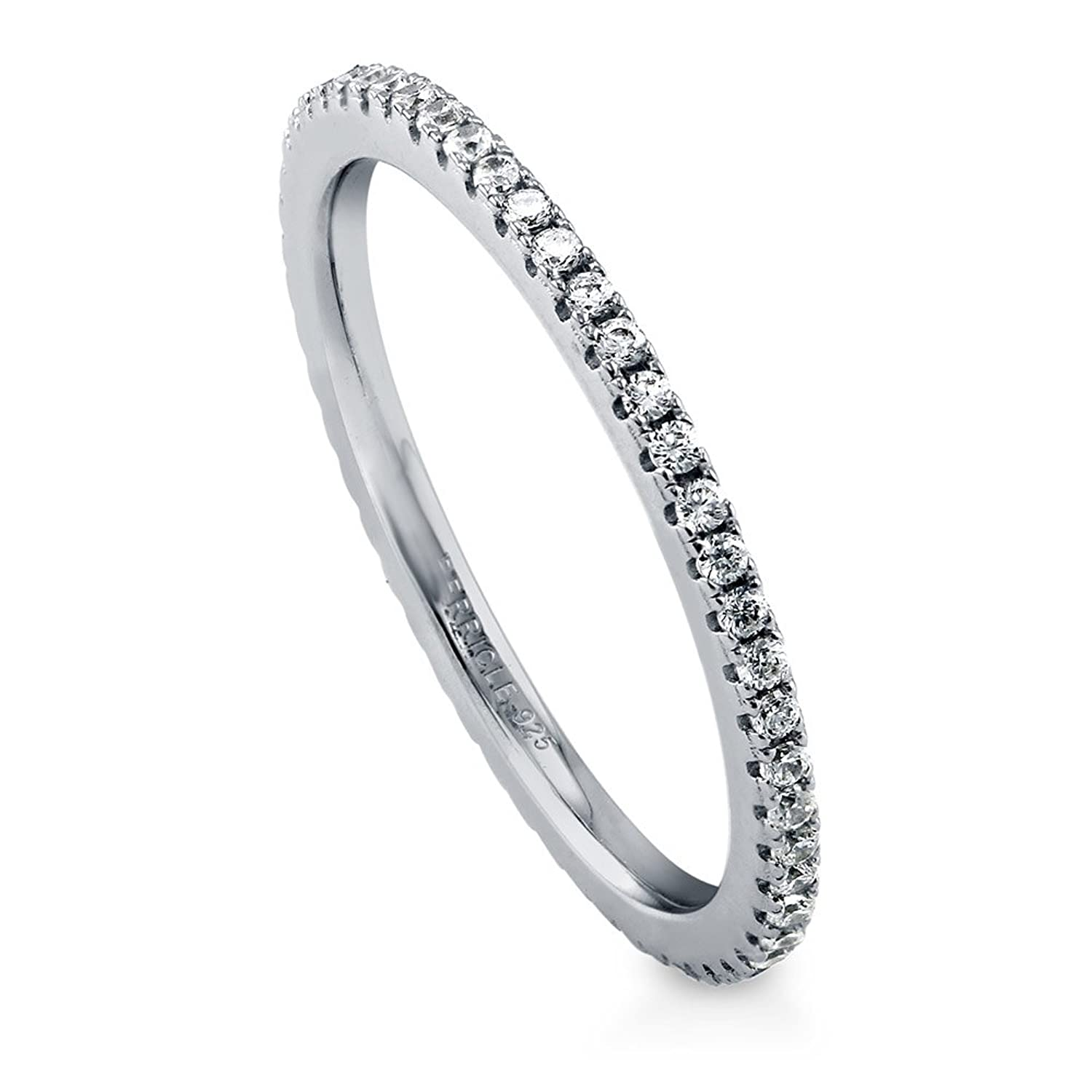 925 Sterling Silver Half Eternity Ring CZ Crystal Wedding Band, 2mm Wide