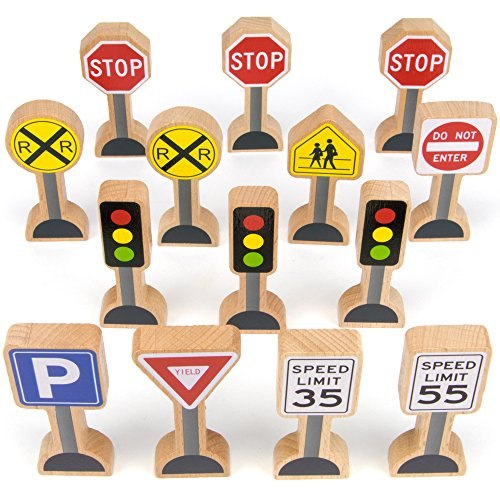14-piece Wooden Street Signs Playset for Kids, Compatible with All Major Train Brands, Block Sets, & Carpet Playmats by Imagination -