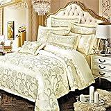 MEI Luxury Jacquard Silk Cotton Blend 4pcs Duvet Cover Bed Sheet Pillowcase Bed Linen