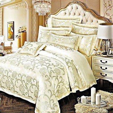 MEI Luxury Jacquard Silk Cotton Blend 4pcs Duvet Cover Bed Sheet Pillowcase Bed Linen by MEI (Image #7)