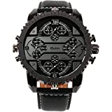 OULM Men's 3233 Aviator Military Analog Japanese Quartz Black Synthetic Leather Watch with Watch Box