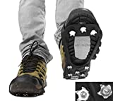 Super Easy Outdoor Soil Mud Ice Snow Anti-Slip/Skid OverShoes Boot Crampons Cleats for Hiking Camping Fishing Hunting Farm Remote Kid Old Man Lady Walk Strolling ICE Snow Winter Steel Grips Teeths