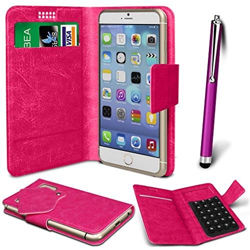 N4U Online® - Apple iPhone PU aspiration en cuir Wallet Pad Housse & High Sensitive Stylus Pen - Hot Pink