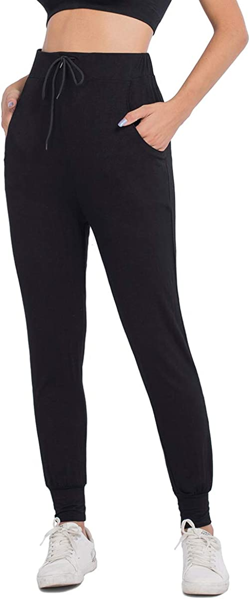 JTANIB Joggers Pants for Women, Active Lounge Drawstring Waist Yoga Sweatpants with Pockets (Black, L)
