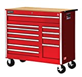 Williams 50766W 11 Drawer Super Value Roll Cabinet with Wood Top, 42'', Red