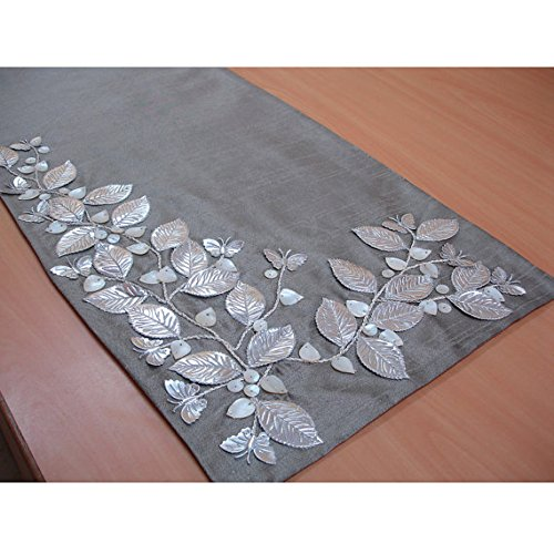 The HomeCentric Handmade, Designer, Decorative Table Runners - Silver Beige, Silver, Ivory - 14 x 108 inch - Silk - Beaded Table Runner Silver Beautiful Butterfly Mother of Pearl ()