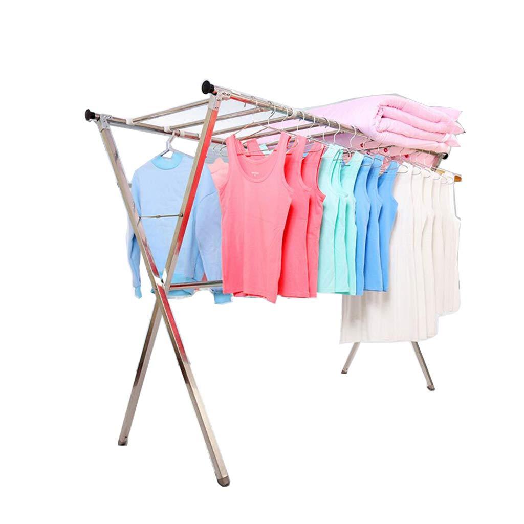 衣類ハンガー アイレール服乾燥ラック屋内ステンレススチールハンガー折り畳み式調節可能 (サイズ さいず : S s) B07HQ96FW5  S s