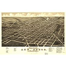 1880 map of Ann Arbor, Michigan Panoramic view of the city of Ann Arbor, Washten