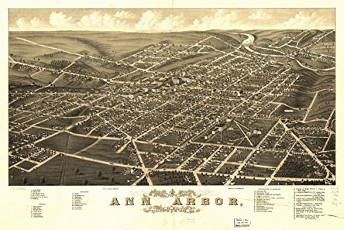 Map: 1880 Panoramic view of the city of Ann Arbor, Washtenaw Co., Michigan 1880|Ann Arbor|Ann Arbor (City Ann Arbor)