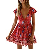 Clearance! Womens Sexy V-Neck Short Sleeve Boho Dresses Vintage Floral Print Ruffles Button Holiday...
