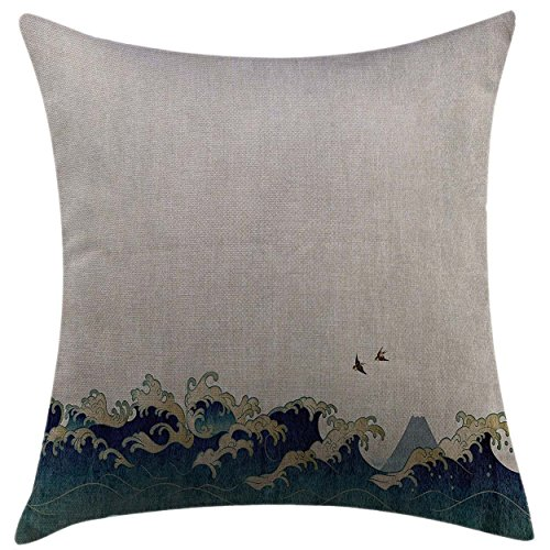 Mugod Pillow Cases Cushion Cover Japanese Wave Aquatic Swirls Flying Birds of Ocean Ukiyo-e Style Artwork Grunge Print Grey Blue Cream Pillowcase for Men Women Girl 20x20 Inch
