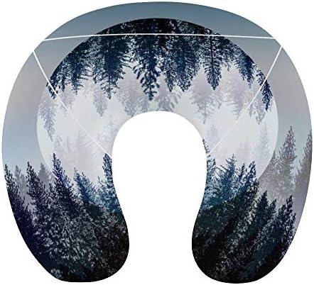 自然風景ネックピロー U型まくら 携帯枕 携帯収納便利 ネック枕 オフィス 飛行機 新幹線 出張