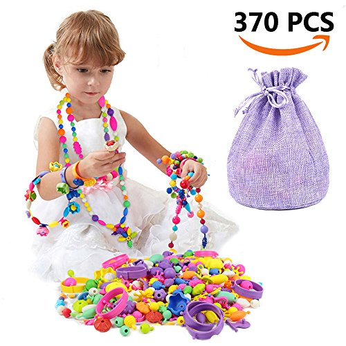 SIMPZIA 370 Pcs Pop Snap Beads Set - Toy Pop Beads Jewelry Making Kit for Rings, Bracelets, Necklaces - Educational Pop-Arty Beads for Girls, Toddlers, Kids
