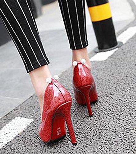 Idifu Vrouwen Unieke Strass Puntige Lage Lage Slip Op Pumps Schoenen Met Hoge Naaldhakken Rood