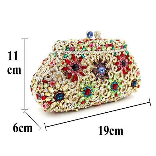 cristal de de sac de creux de de métal de la dîner Couronne papillon Embrayage de en Sac Gold diamant de strass Sac luxe 8U7qA