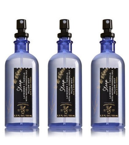 Bath & Body Works Aromatherapy Sleep Lavender Vanilla Pillow Mist, 5.3 Fl Oz, 3-Pack, (Packaging May Vary) by Bath and Body Works