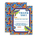 Dart Gun Themed Thank You Notes for Kids, Ten 4'' x 5.5'' Fill In The Blank Cards with 10 White Envelopes by AmandaCreation
