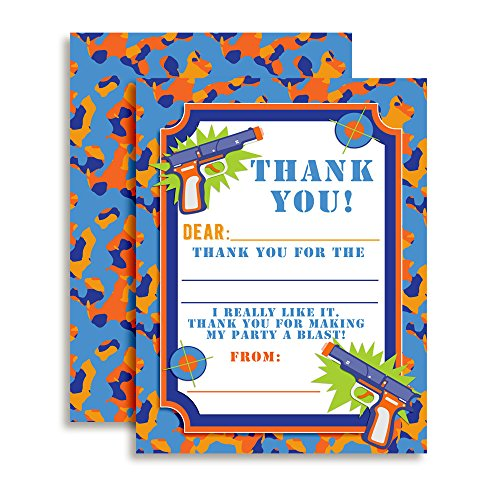 Dart Gun Themed Thank You Notes for Kids, Ten 4'' x 5.5'' Fill In The Blank Cards with 10 White Envelopes by AmandaCreation by Amanda Creation
