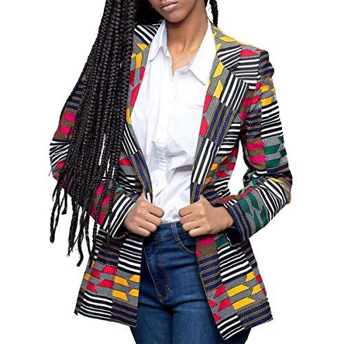 ZFFde Invierno Chaqueta estampada africana para mujer Gire la chaqueta de mangas largas con cuello Dwon (Color : Yellow, tamaño : S)