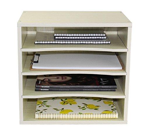PAG Office Supplies Wood Desk Organizer Desktop File Mail Sorter with 3 Adjustable Drawer Boards,White