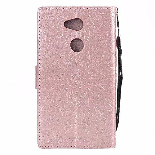 YHUISEN Diseño de impresión de la flor del sol de cuero de la PU tirón funda protectora de la cartera del tirón con la ranura para tarjeta del soporte para Sony Xperia L2 ( Color : Purple ) Rose Gold
