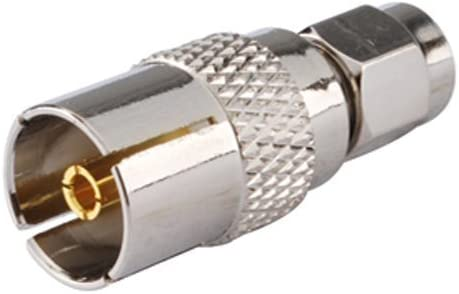 2pcs RF aleación de cobre Terminal Conector DVB-T TV-Tuner adaptador de antena TV Jack a conector macho SMA recto antena inalámbrica para barcos de ...