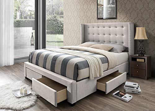 avoy Tufted Upholstered Wingback Panel Storage Bed, Queen in Beige Fabric ()