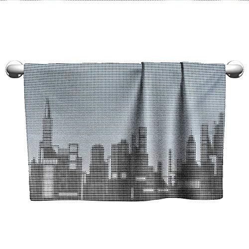 alisoso Digital,Dish Towels City Skyline with Futuristic Computer Art Effects and Dot Generic Illustration Gym Towels for Women Baby Blue Black W 14