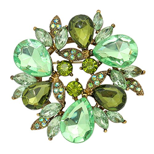 (Rosemarie Collections Women's Sparkling Crystal Flower Brooch Pin (Gold Tone Green))