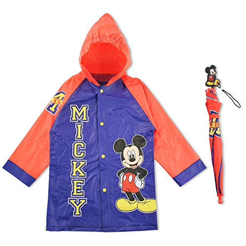 Disney Little Boys Mickey Mouse Character Slicker and Umbrella Rainwear Set, Blue, 2-3