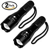 AYBO Tactical Flashlight 2 Pack- Tac Light Torch Flashlight - As Seen on TV XML T6 - Brightest LED Flashlight with 5 Modes- Adjustable Waterproof Military Grade Flashlight for Outdoor