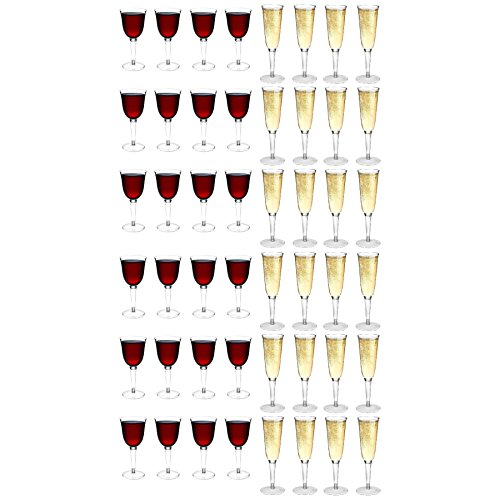 Rink Drink Plastic Wine Glasses & Champagne Outdoor Flutes - 200ml / 285ml - Set of 48