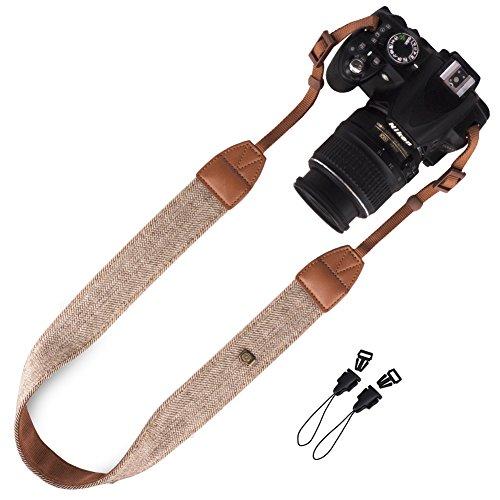 DSLR / SLR Camera Strap - Wolven Camera cotton canvas Neck Shoulder Belt Strap for Nikon Canon Samsung Pentax Sony Olympus Fujifilm Instax Polaroid Pringo - (Digital Camera Strap)