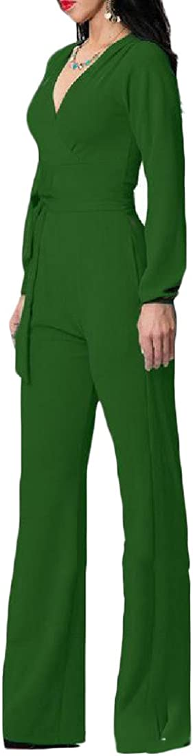 Comfy Women Solid V Neck with Belt Long Sleeve High Waist Slim Rompers