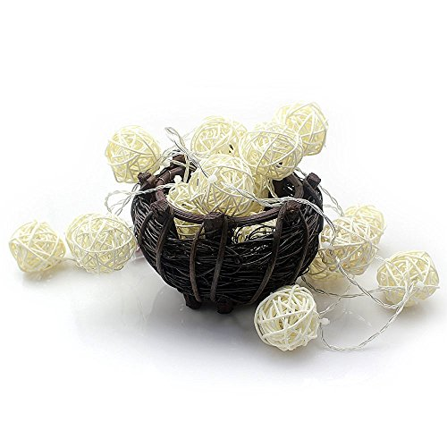 Globe Fairy String Lights, 2.5M/8.2ft 20 LEDs Sepak Takraw String Lamp Indoor and Outdoor Decoration for Garden Party Christmas Wedding Indoor Bedroom Wall as Photography Props ( White ) - Moonlight Fairy Lamp