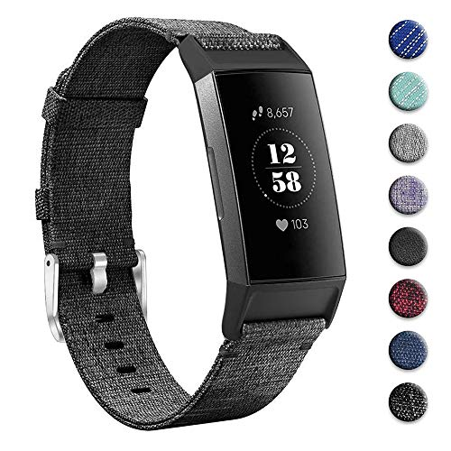 hooroor Woven Fabric Breathable Replacement Bands Compatible for Fitbit Charge 3 and Charge 3 SE Fitness Activity Tracker, Soft Accessory Sports Band Wristbands Strap Women Men (Charcoal, Small) (Strap Band Fabric)