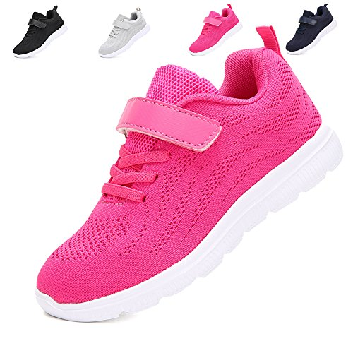 Image of Kids Lightweight Sneakers Boys and Girls Cute Breathable Athletic Walking Casual Running Shoes Pink35