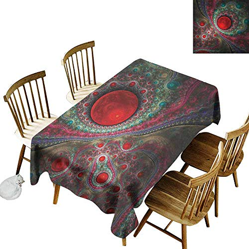 (DONEECKL Pearls Home Decoration Tablecloth Anti-Overflow Tablecloth Round Circle Object Motifs Sphere Forms Vintage Medieval Design Pearls Oyster Dark Print Multi W60 xL120)